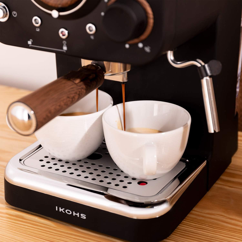IKOHS THERA Retro - Cafetera Express para Espresso y Cappucino, 1100W, 15 Bares, Vaporizador Orientable, Capacidad 1.25l, Café Molido y Monodosis, con Doble Salida ...
