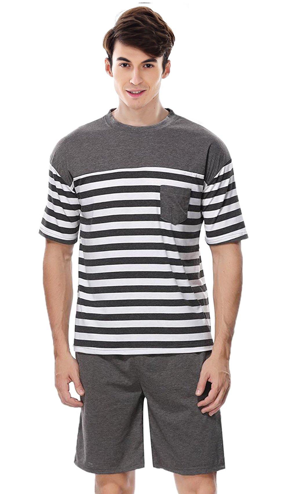 Men's Summer Sleepwear, Short Sleeve Striped Cotton Shorts and Top Pajama Set Sleep Sets Pjs