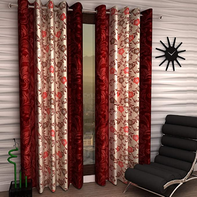 Home Sizzler 2 Piece Eyelet Polyester Door Curtain Set - 7ft, Maroon Curtains at amazon