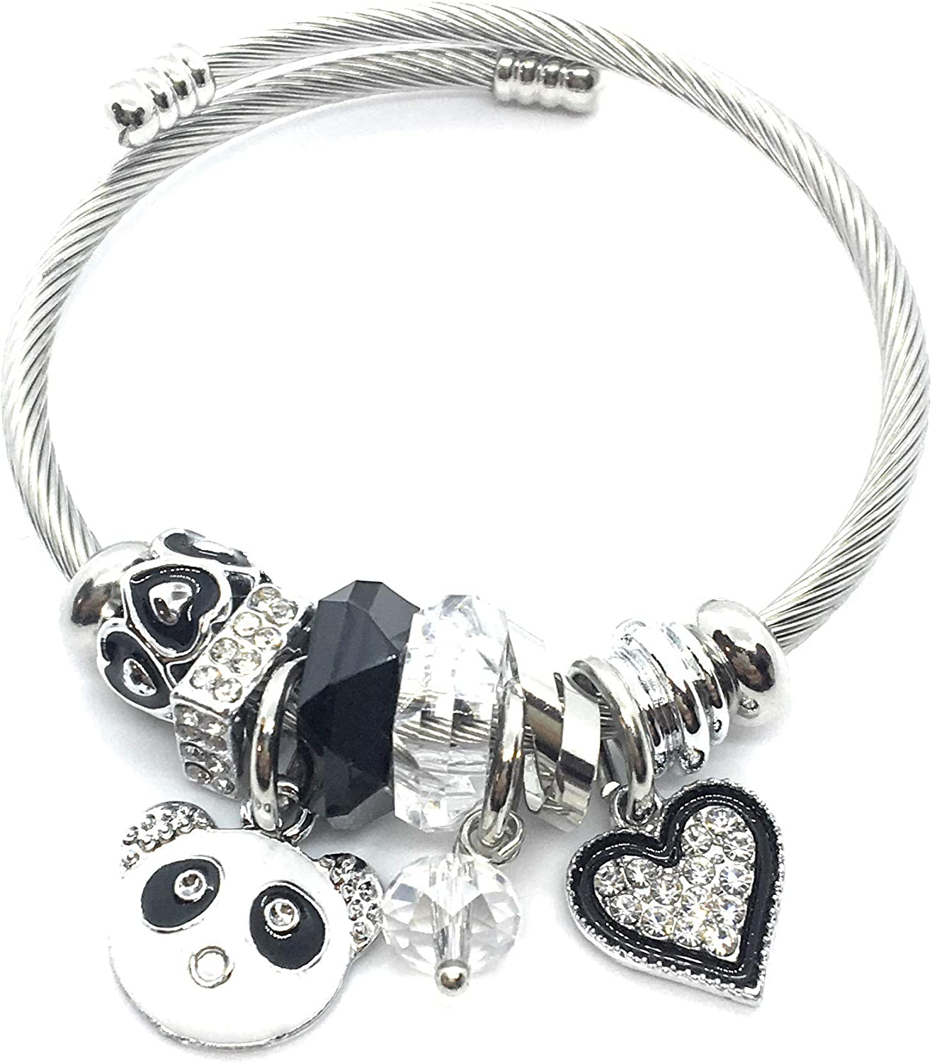 Womens Gift Idea Stainless Steel Silver Metal Boho Cuff Expandable Wrist Bangle White Panda Crystal Charm for Womens Fashion Jewelry Gift for Ladies Teen Girls Sister Mom Christmas Ideas