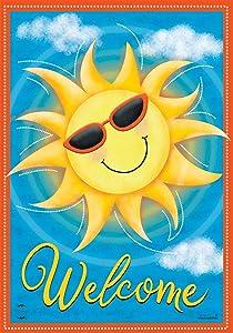 "Briarwood Lane Summer Sunshine Welcome Garden Flag Sunglasses 12.5"" x 18"""