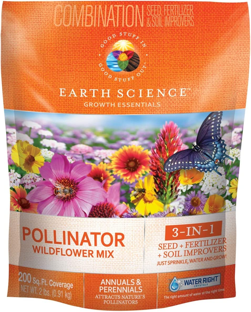 Wildflower Pollinator Mix from Earth Science (2 lb), 3-in-1 Mix with Premium Wildflower Seed, Plant Food and Soil Conditioners, Non-GMO, for Bees, Hummingbirds, Butterflies, Pollinators