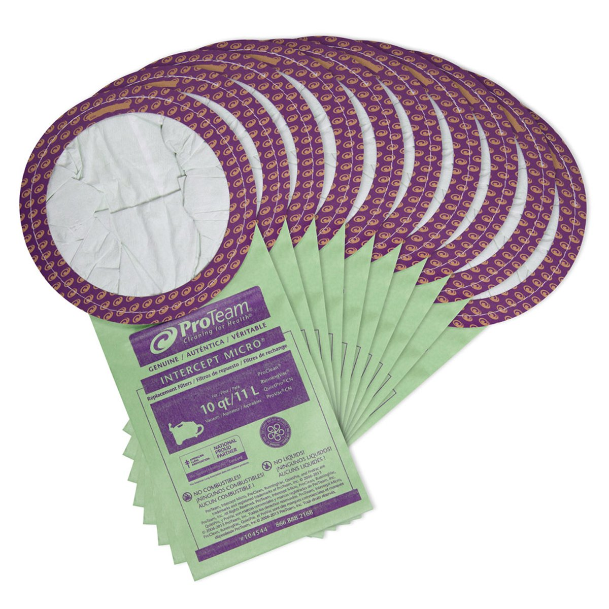 ProTeam 104544 Intercept Micro Filter Bags with Open Collar and 10-Quart Capacity, 10-Pack of Replacement Vacuum Filters