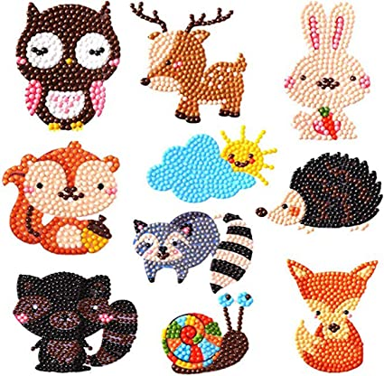 Diamond Sticker Animals-02 Diamond Painting Kits for Kids,ForTomorrow 5D DIY Animal Diamond Paint by Numbers Handmade Sticker Arts and Crafts/for Children//Toddlers