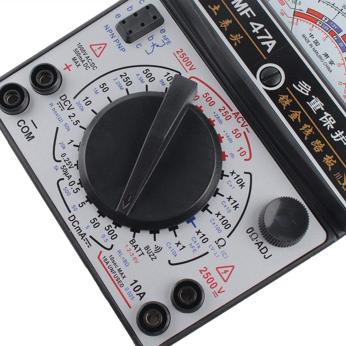 Kongqiabona-UK Mult/ímetro anal/ógico MF-47A Voltaje DC//AC Medidor de Corriente Prueba de bater/ía Multitester