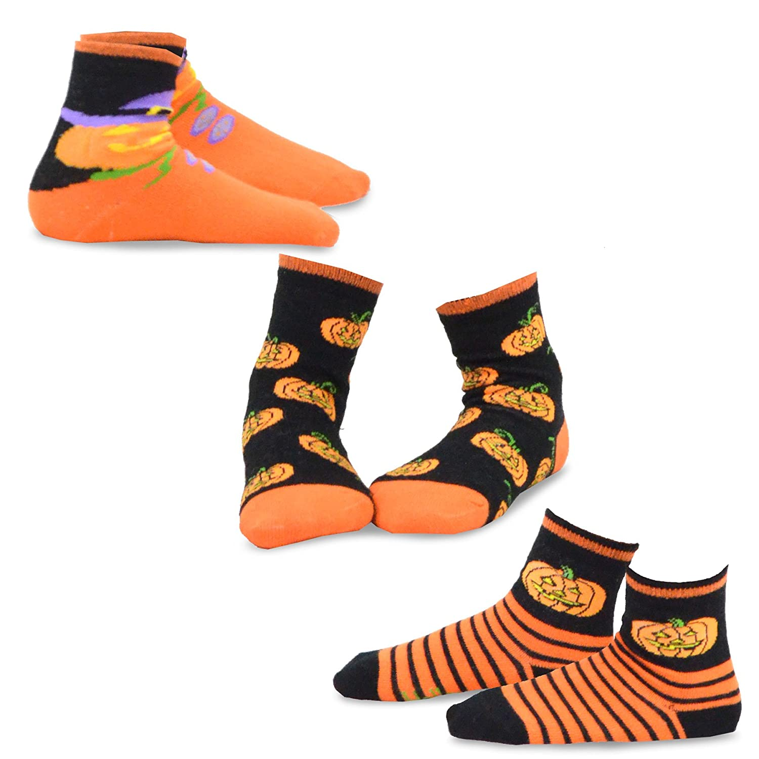 TeeHee Halloween Kids Cotton Fun Crew Socks 3-Pair Pack