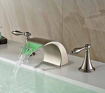 Rozin Brushed Nickel Finish LED Colors Waterfall Bathroom Sink - Bathroom faucet colors