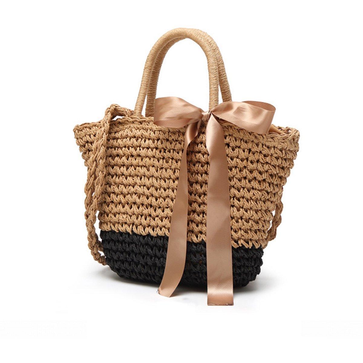 Straw Crossbody Handbag, JOSEKO Women Top Handle Handbag Summer Beach Purse Ladies Shoulder Bag Black 10.62''/7.48''x 5.91''x 7.08''(LxWxH)