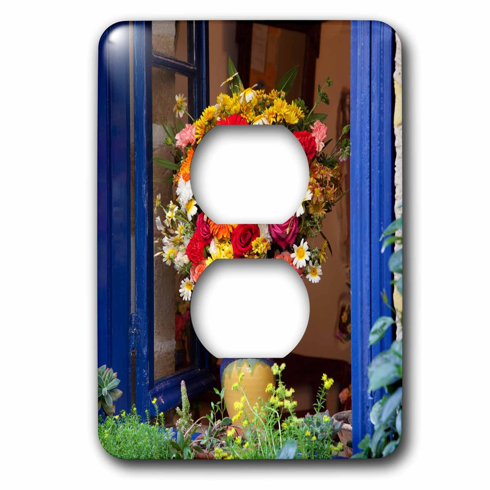 3dRose Danita Delimont - Flowers - Greece, Crete, Window with flowers - Light Switch Covers - 2 plug outlet cover (lsp_277435_6)