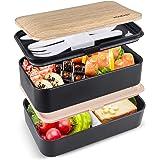 homeasy Bento Box Hermético, Lunch Box de Bambú de 2 Recipiente 1200ml 3 Cubiertos, Lunch Box para Adultos y Niños…