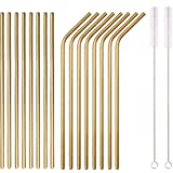 18 Piece Gold Stainless Steel Straws, 8.5 '' Reusable Drinking Straws,with Portable pouch,Suitable for wine and cold…