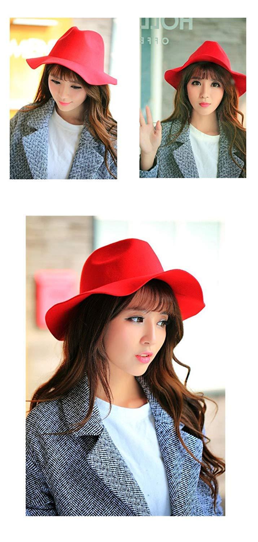Thundertechs The Girlfriend Boyfriend Autumn Winter hat hat Women Female en Wide Brimmed hat Vintage Jazz Outdoor Dome Cap (Color : Hat Scarlet, Size : M (56-58cm)) by Thundertechs (Image #2)