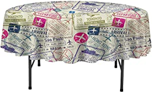 Aishare Store Water Resistant Tablecloths Traveller Decor Passport Visa Stamps Illustration Toronto Hong Kong Berlin Print Table Cover for Parties D35 Inch Egg Shell and Pink