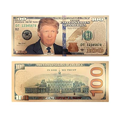 blinkee 100 USD President Donald Trump Collectible Gold Plated Fake Bank Note: Toys & Games