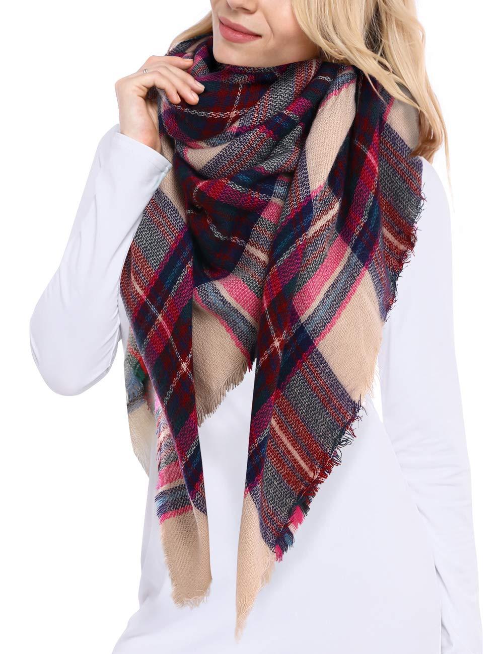 Bess Bridal Women's Plaid Blanket Winter Scarf Warm Cozy Tartan Wrap Oversized Shawl Cape by Bess Bridal