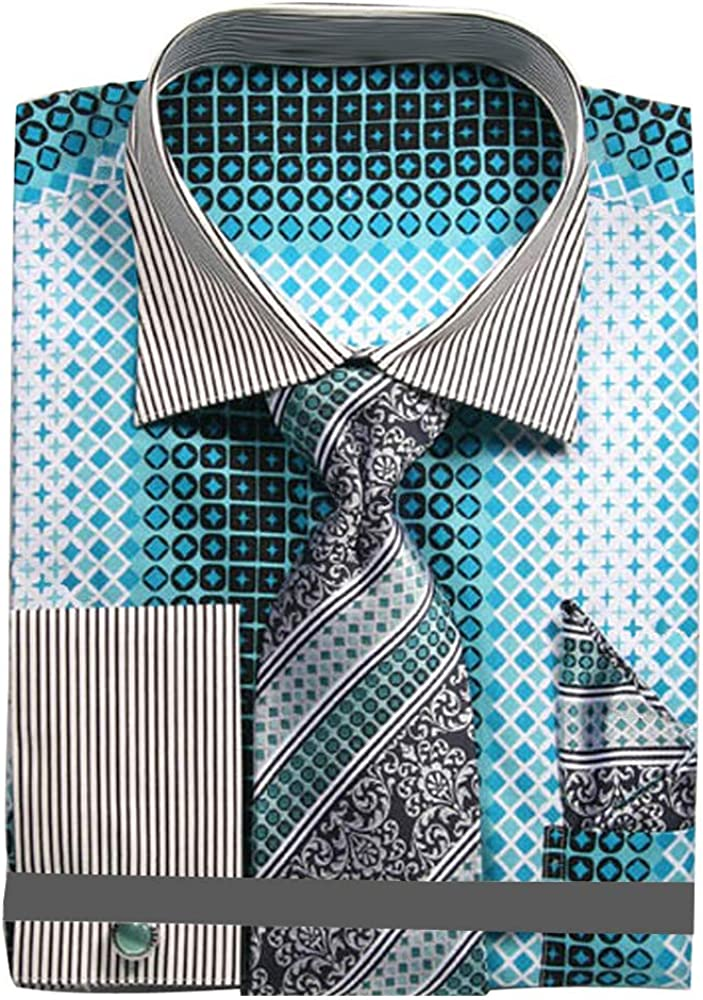 Sunrise Outlet Mens Geometric Pattern Dress Shirt with Tie Handkerchief and Cufflinks
