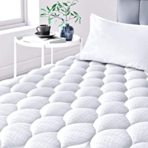 Leafbay Mattress Pads for Queen Size Bed, Cooling Cotton Queen Mattress Pad with Soft Snow Down Alternative Fill, Breathable Quilted Fitted Mattress Topper with Deep Pocket up to 21 Inches