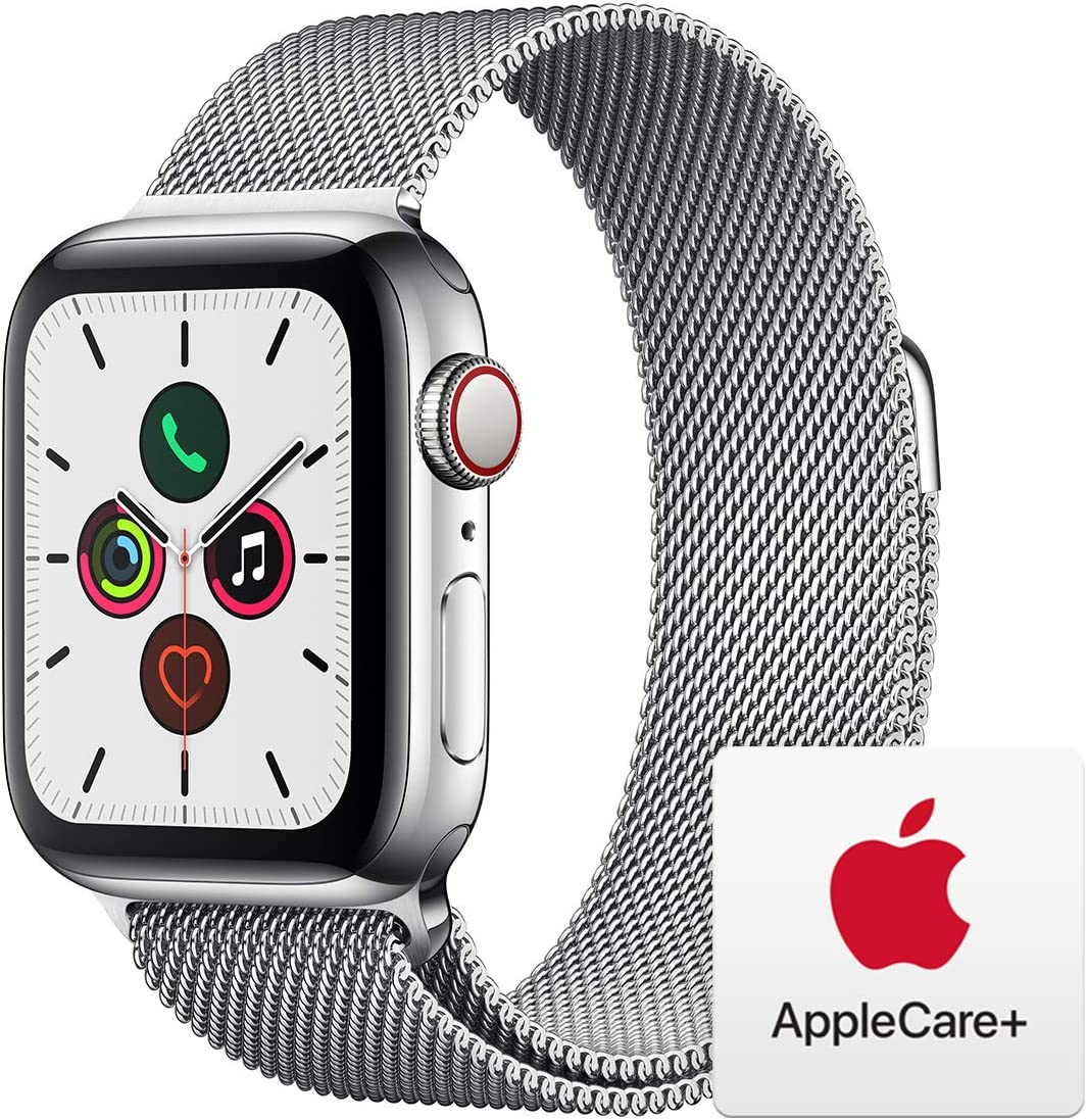 Apple Watch Series 5 (GPS+Cellular, 40mm) -  Stainless Steel Case with Milanese Loop with AppleCare+ Bundle