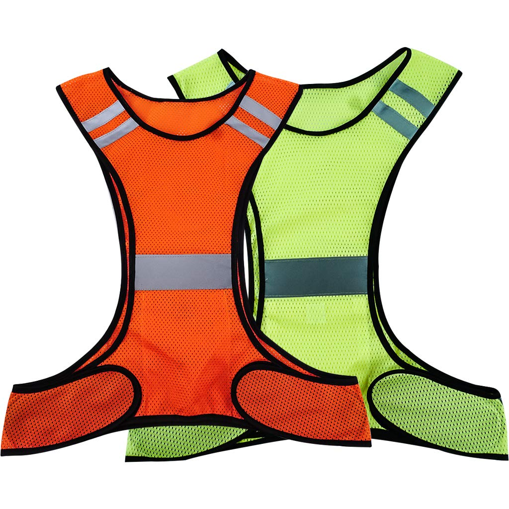 OSOPOLA Reflective Vest – Safety Fluorescence Gear with Pocket for Running Cycling Dog Walking Sports High Visibility