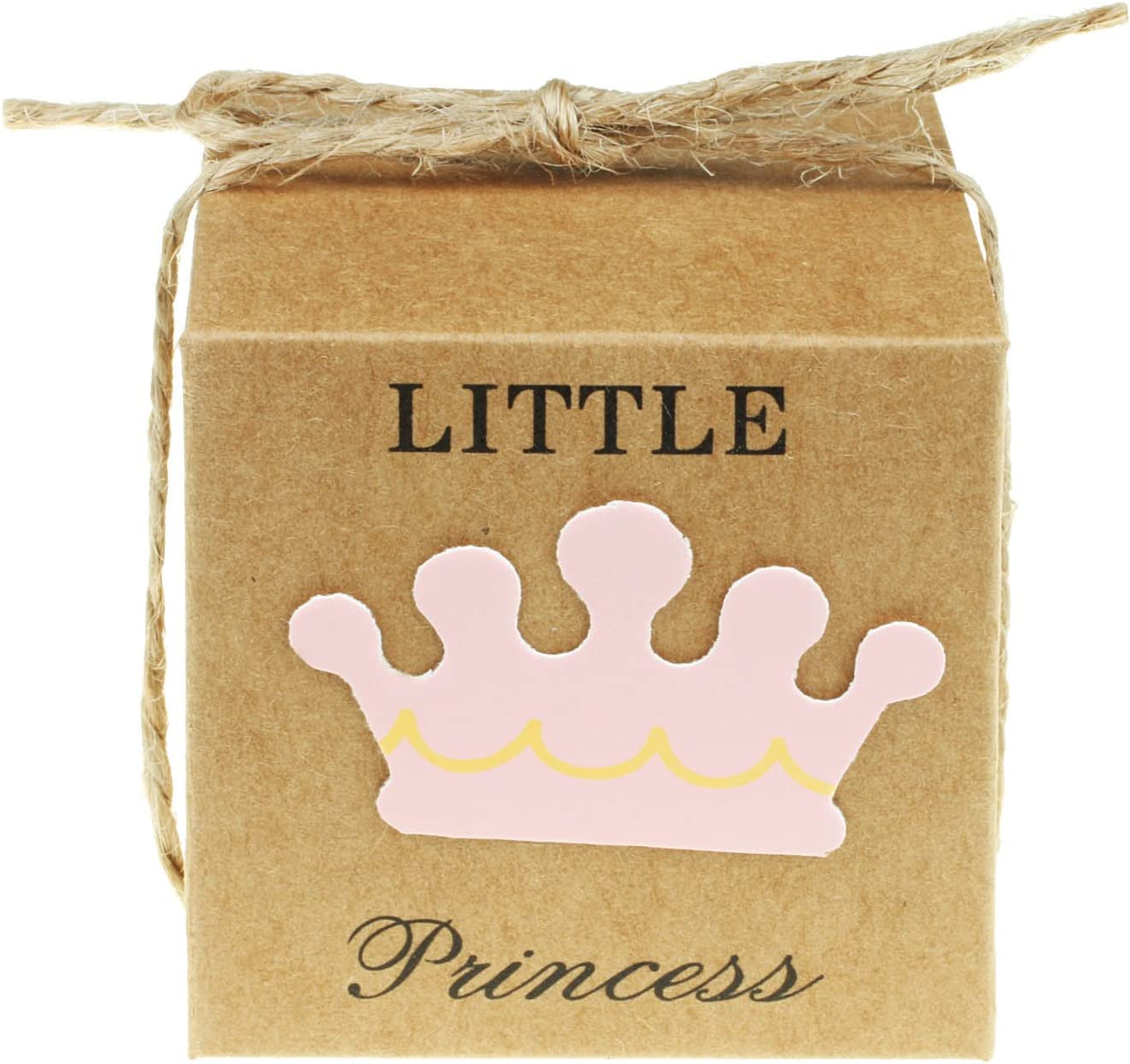 "Vlovelife 50pcs Baby Pink Little Princess Paper Favor Boxes Gift Box + 50pcs Free Natural Jute Twine Cute Kraft Paper Gift Candy Box Baby Shower Birthday Party Favors - 2""x2""x2''"