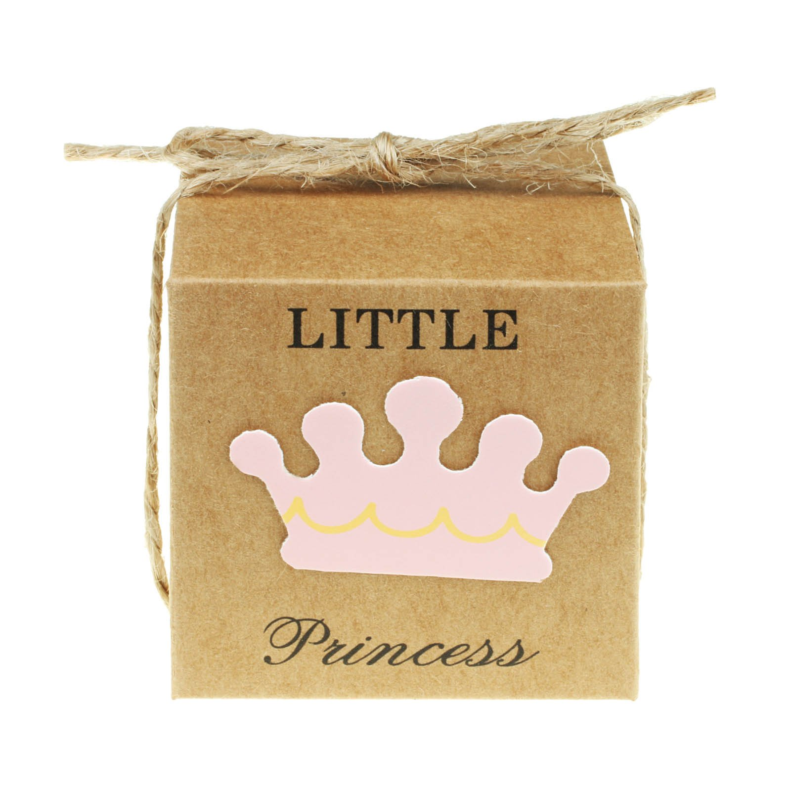vLoveLife 50pcs Baby Pink LITTLE PRINCESS Paper Favor Boxes Gift Box + 50pcs Free Natural Jute Twine Cute Kraft Paper Gift Candy Box Baby Shower Birthday Party Favors - 2''x2''x2''