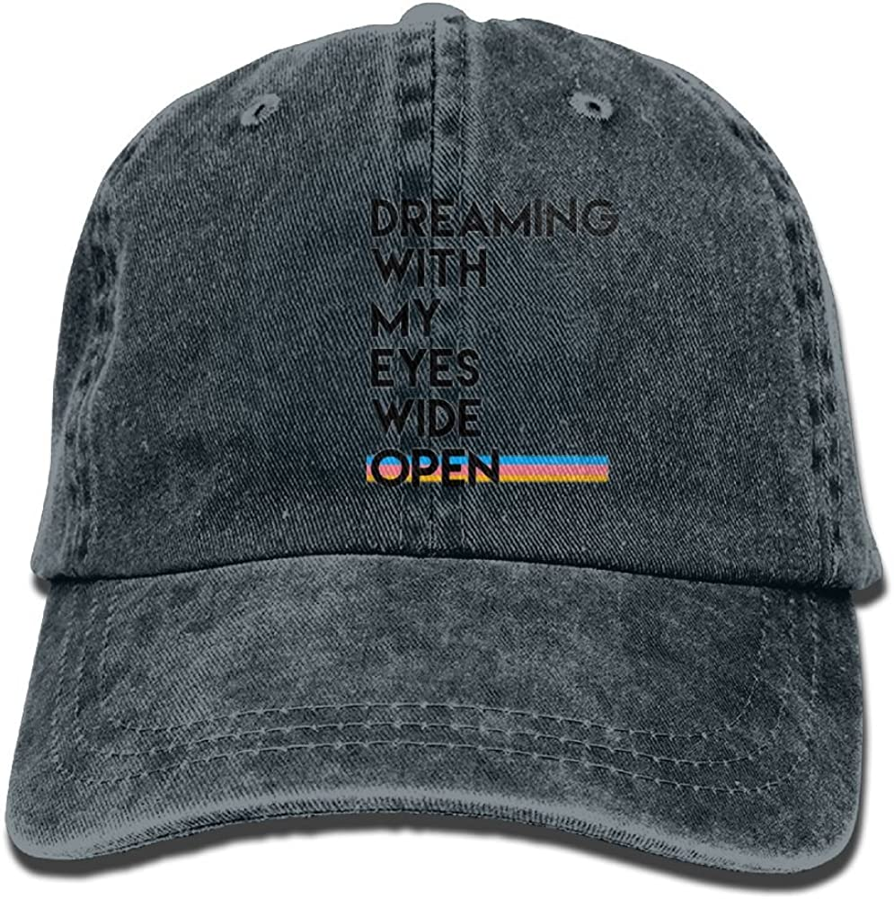 Unique Mens Dreaming with My Eyes Wide Open Sports Adjustable Structured Baseball Cowboy Hat