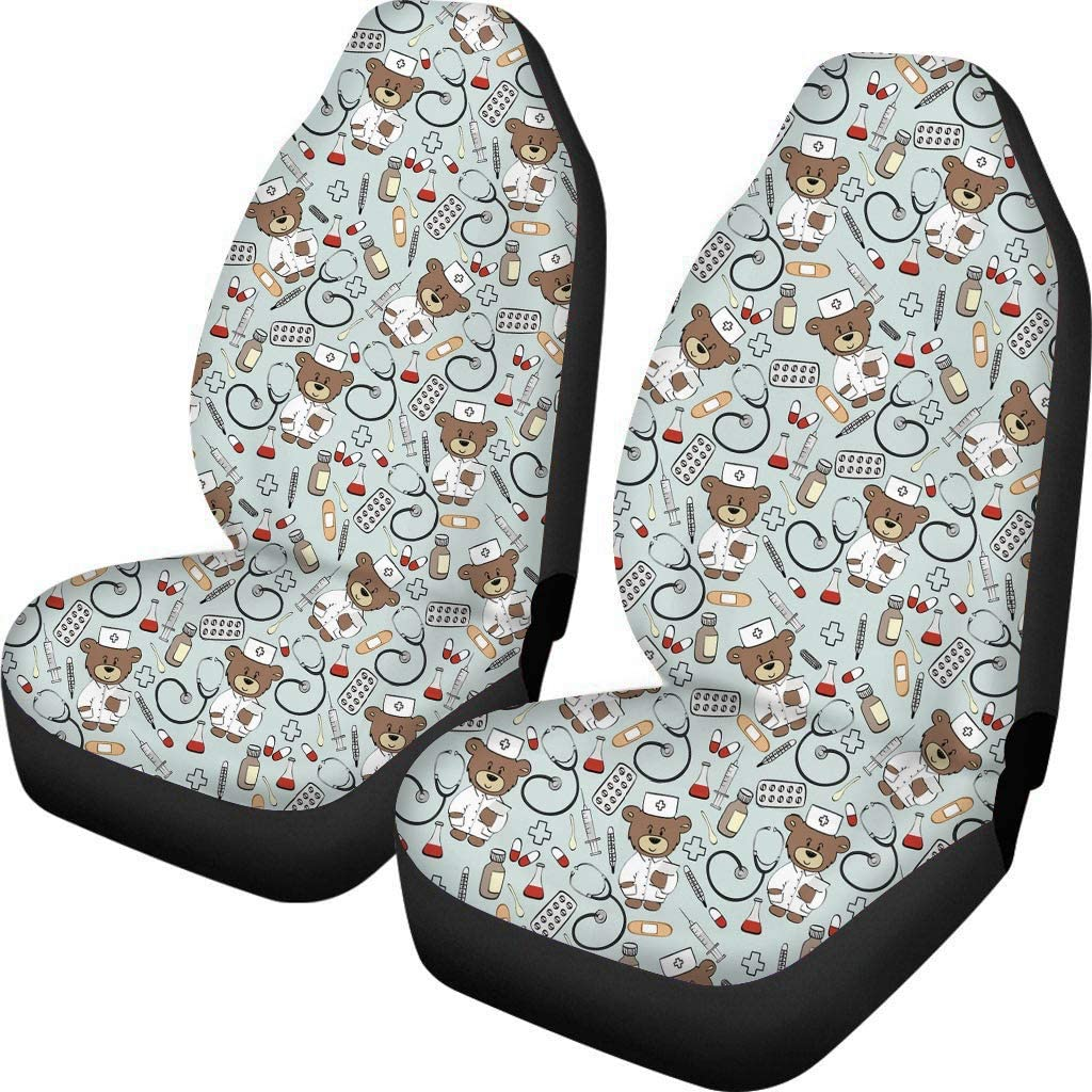 HUGS IDEA Car Seat Covers Soft Vehicle Seat Pad Protector Sloth Hang in There
