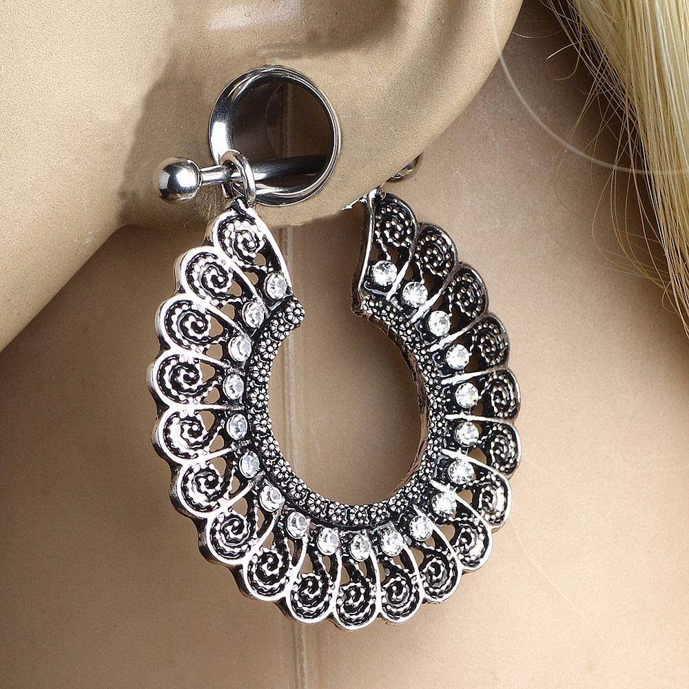 14 mm adit/_fa 1 Pair Silver Dangle CZ Spirals Stainless Steel Ear Tunnels Double Flared Plugs Gauges Size 9//16