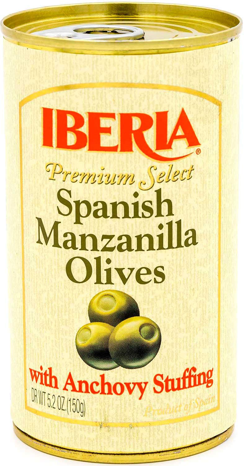 Iberia Spanish Olives Stuffed with Anchovies, 5.25 Oz Olives with Anchovy 63 Ounce (Pack of 12)