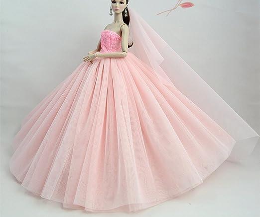 Amazon.es: Stillshine Preciosa Vestido de Novia el para Barbie Doll Vestido de Muñeca Ropa Accesorios para Barbie (Rosa): Juguetes y juegos