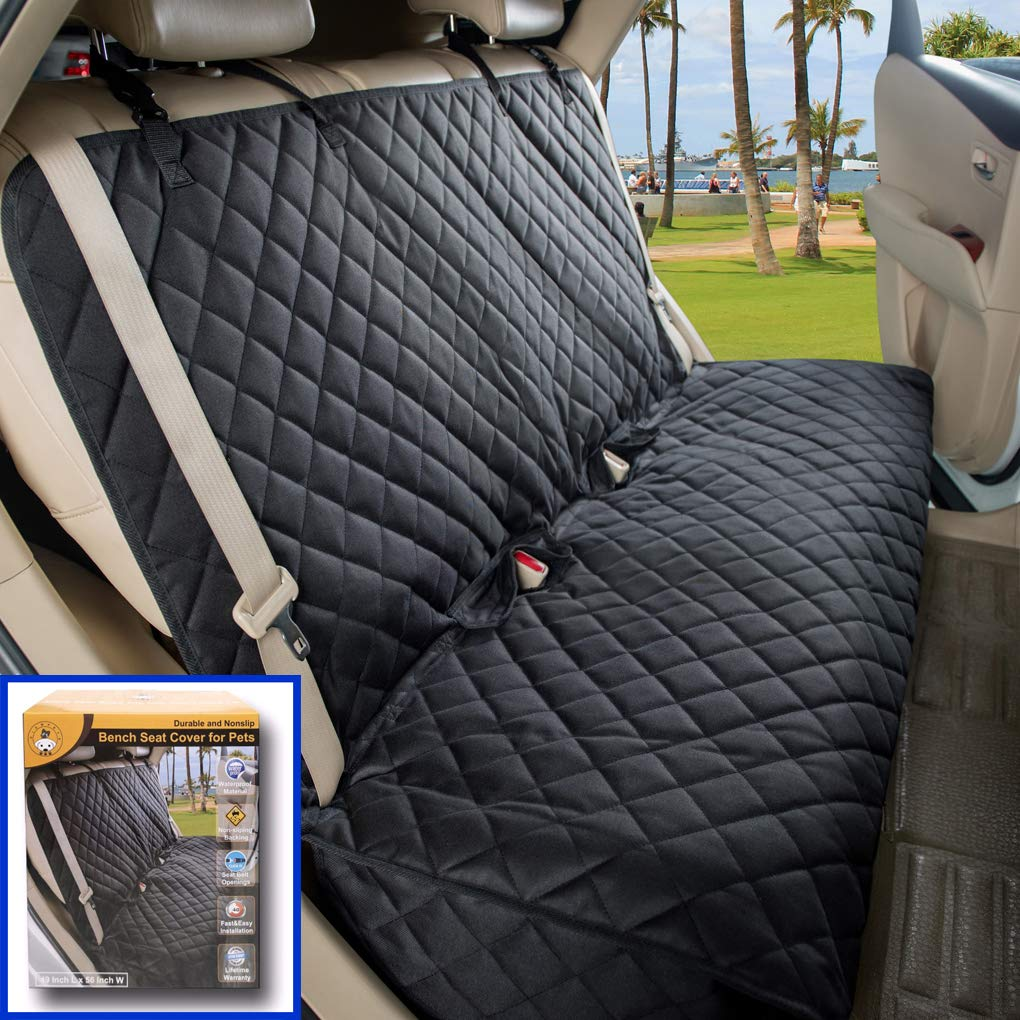 VIEWPETS Bench Car Seat Cover Protector - Waterproof, Heavy-Duty and Nonslip Pet Car Seat Cover for Dogs with Universal Size Fits for Cars, Trucks & SUVs(Black) by VIEWPETS