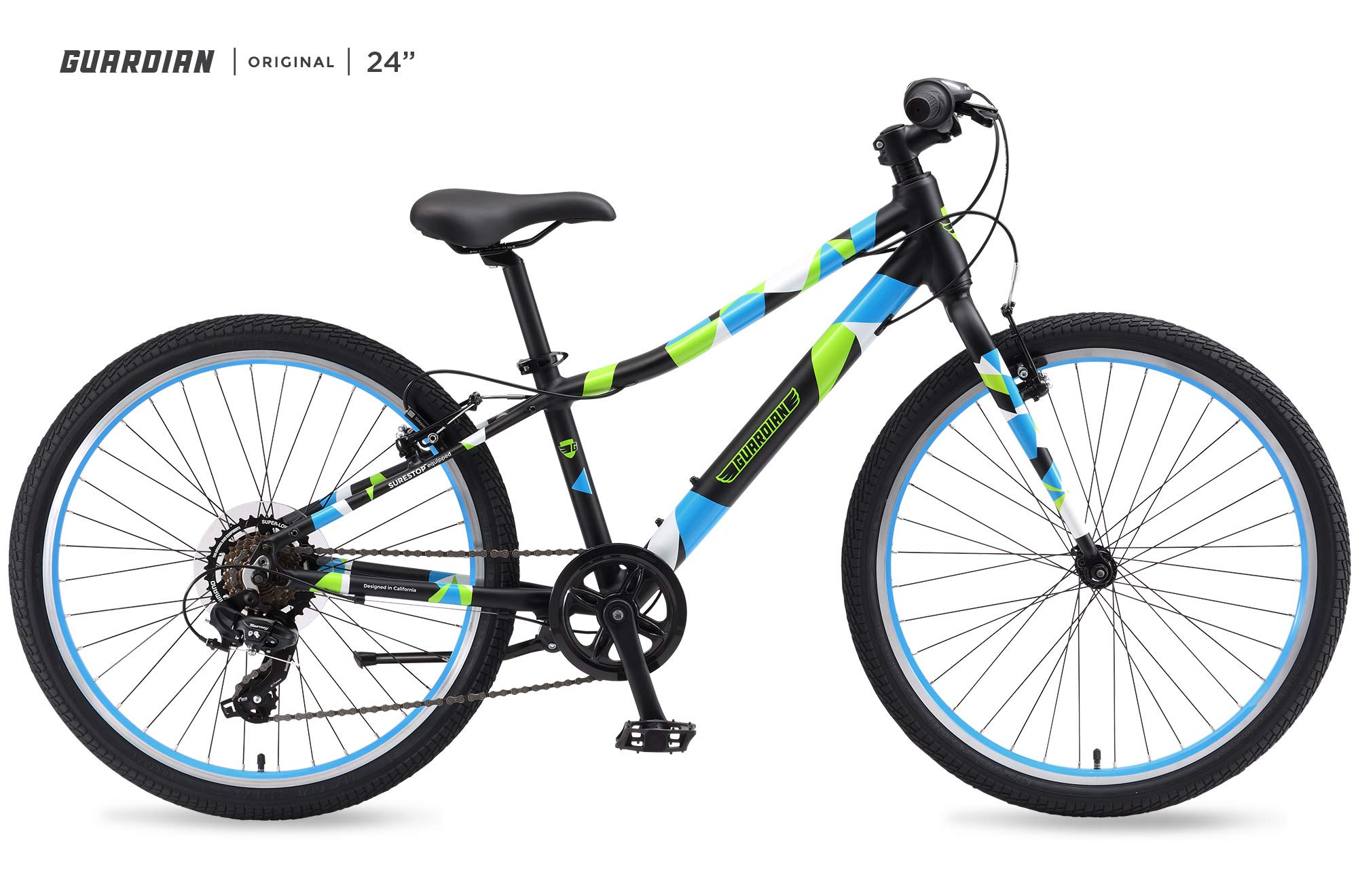 Guardian Lightweight Kids Bike 24 Inch, Safe Patented SureStop Brake System, Kids Mountain Bike, Bike Sizes for Kids 4'2'' - 5'1'', Boys Bikes and Girls Bikes (AS SEEN ON Shark Tank) by Guardian Bikes (Image #1)