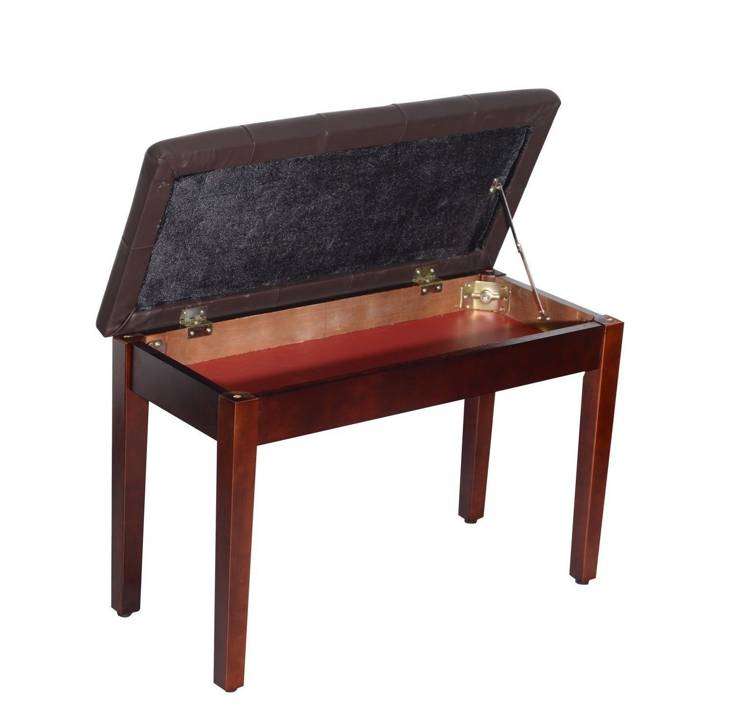 Faux Leather Piano Bench Wood Double Duet Keyboard Padded Storage Seat BW Eight24hours EH8541