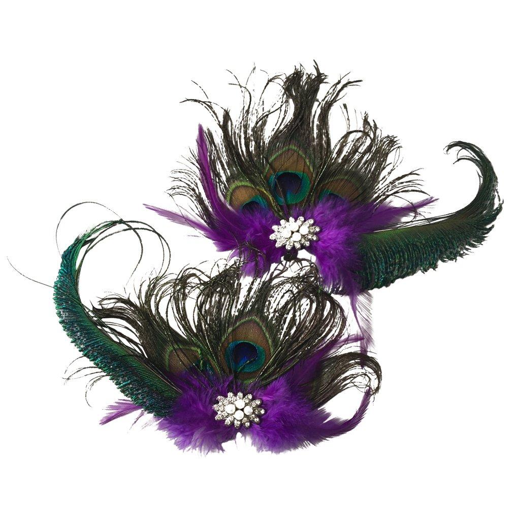 P Prettyia Style Vintage Paon Plume Fleur Fleur Chaussure Clips Chaussures Accessoires