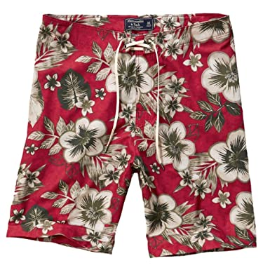 "ddb0356c03 Abercrombie Men's A&F 9"" Swim Shorts Trunks Beach Boardshorts, Size  32, Red Floral"