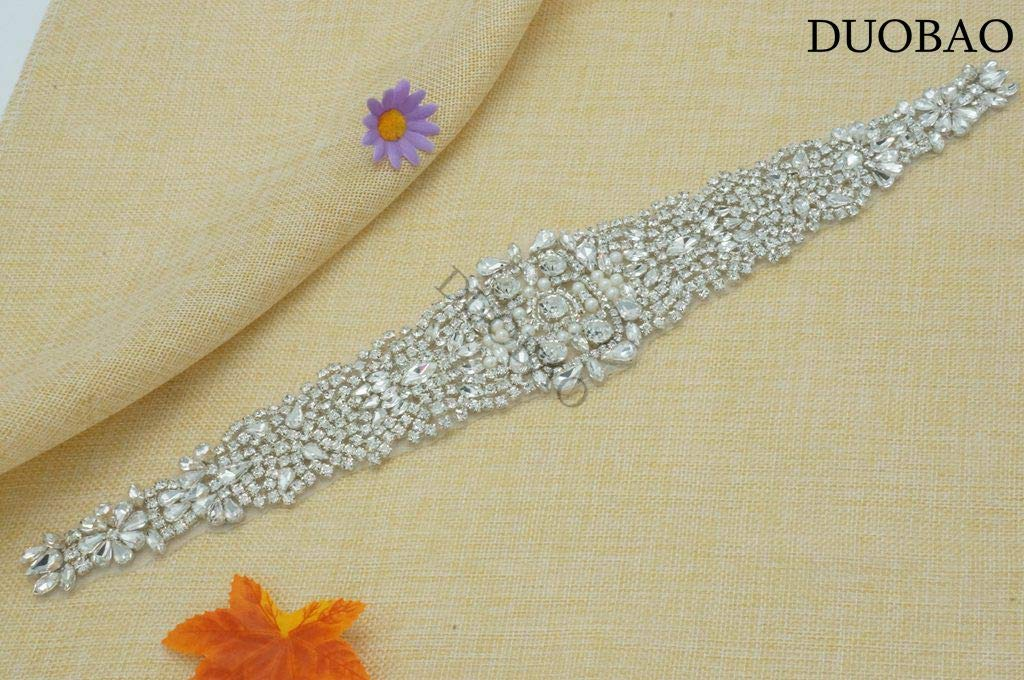 DUOBAO Rhinestone-Sash-Belt Jeweled Bridal Sash Crystal Beading Trim Pearl Bridal Applique Wedding Rhinestone Sash Dress Appliques by DUOBAO