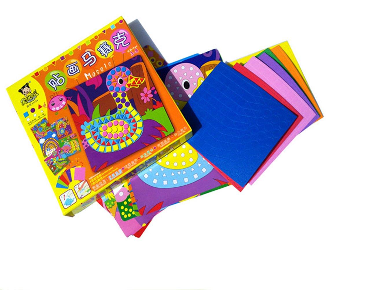 Biowow Animal Sticky Mosaics Art and Craft Kits for Kids,12 Packs