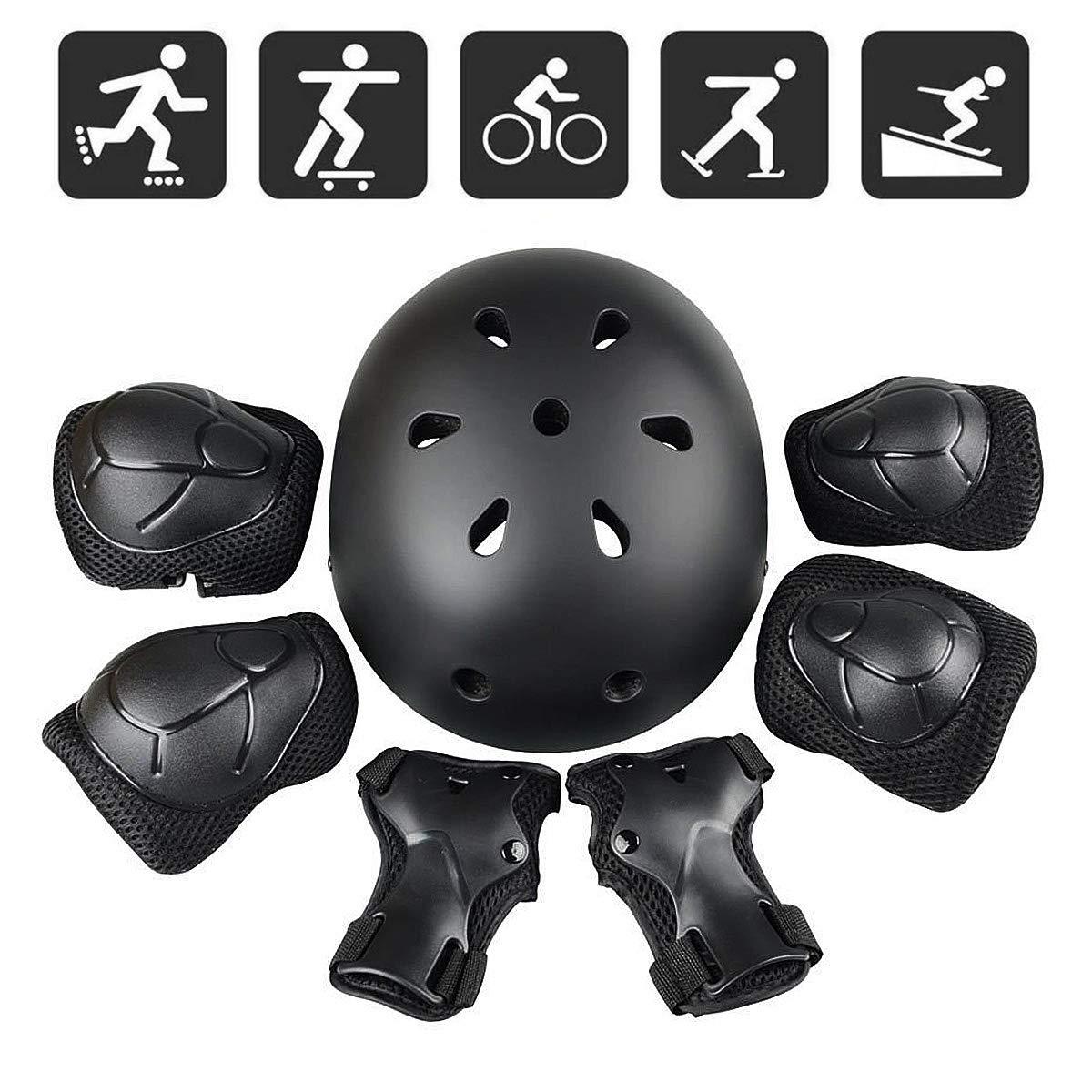 Hoverboard Bicicletta Nero Ginocchiere EMORE Set di Casco Protezione Bambini Skateboard 7 in 1 Set di Casco gomitiere e Protezione Polso per Bambini per Pattini a Rotella,BMX