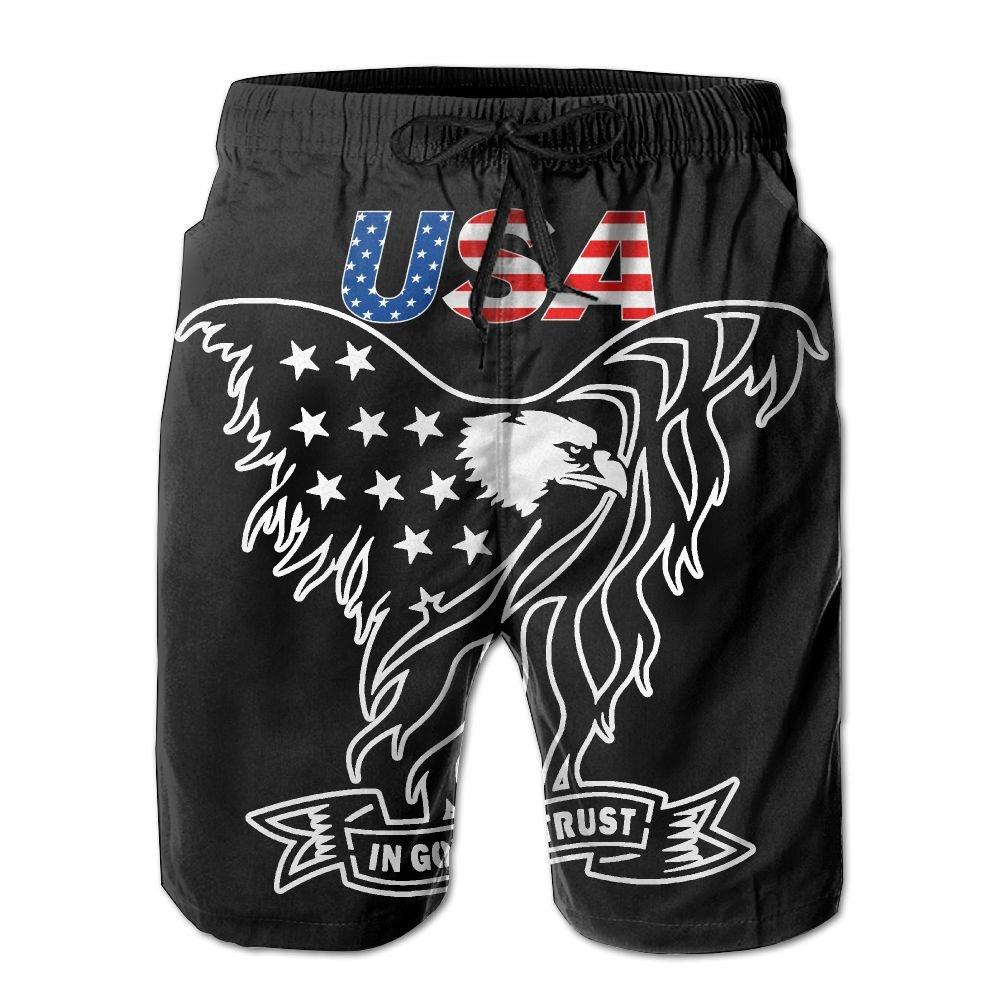 AP.Room USA Flag Eagle Mens Popular Beach Board Shorts Elastic Drawstring Quick Dry Swim Shorts with Pockets