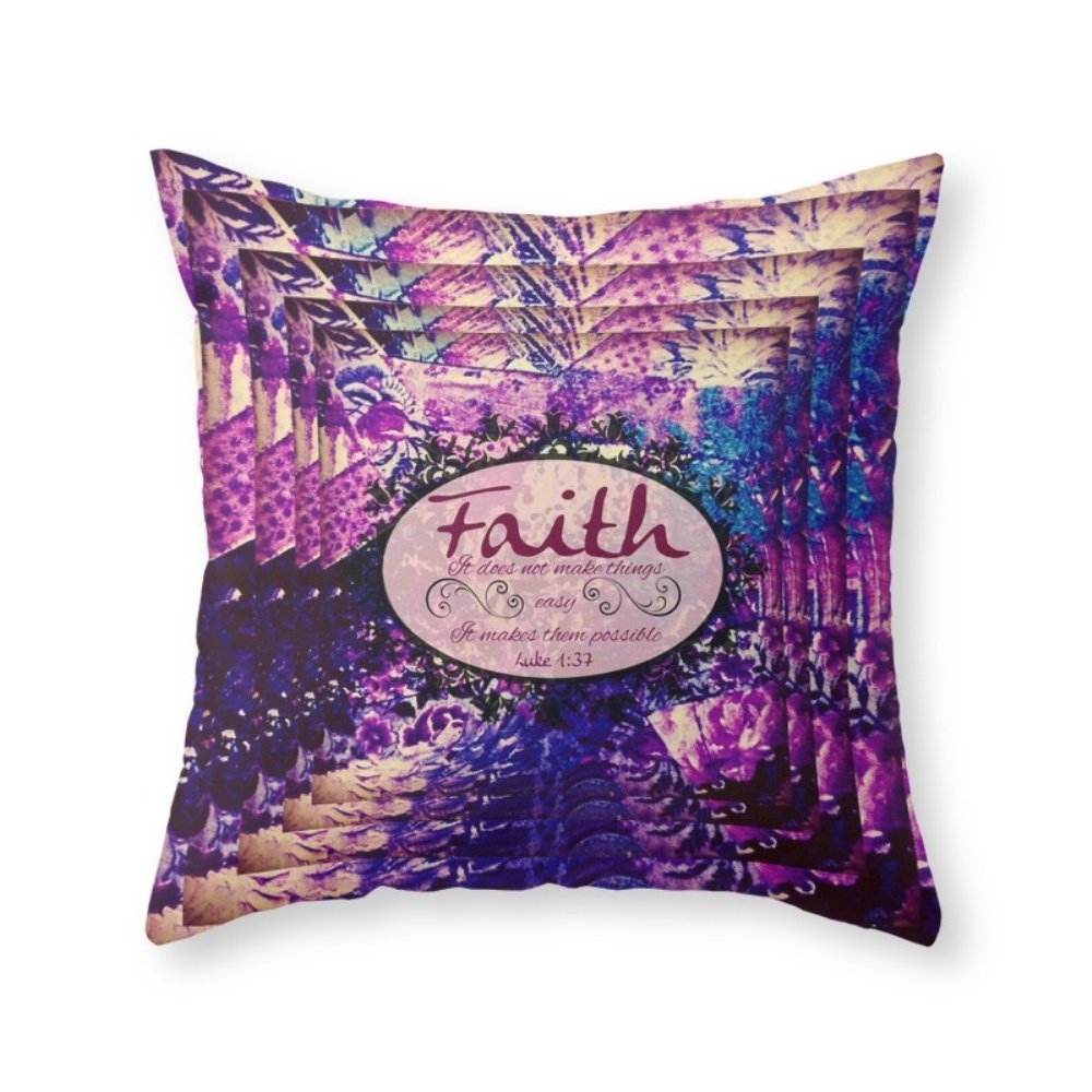 Society6 FAITH Colorful Purple Christian Luke Bible Verse Inspiration Believe Floral Modern Typography Art Throw Pillow Indoor Cover (20'' x 20'') with pillow insert