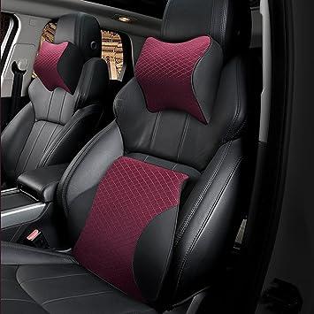 Shentesel Car Headrest Ergonomic Comfortable Seat Head Neck Rest Cushion Support Pillow Red