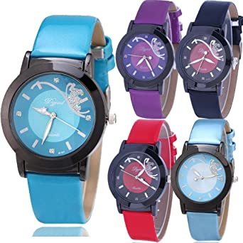 Yunanwa 5 Pack Womens Watches Relojes Mujer Dress Ladies Business Butterfly Quartz Leather Wrist Watch Girl