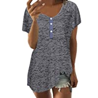 Sinma Clearance Button V-Neck Tops for Women Short Sleeve Casual Loose Blouse Shirts