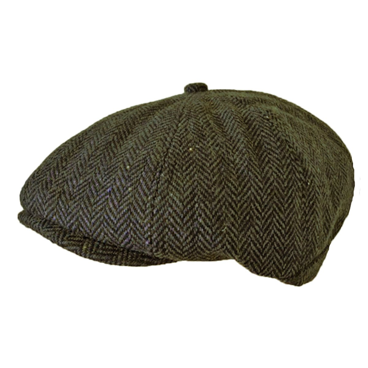 TOSKATOK® Unisex Mens, Ladies 8 Panel Herringbone Wool Blend Baker Boy News Boy Cap