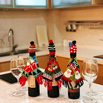 Christmas Wine.Fefehome Christmas Wine Bottle Gift Wrapping Lovely Sweater Scarf And Hat Set Of 3 E