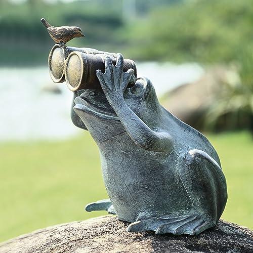 Ebros Verdi Green Aluminum Curious Frog Holding Binoculars