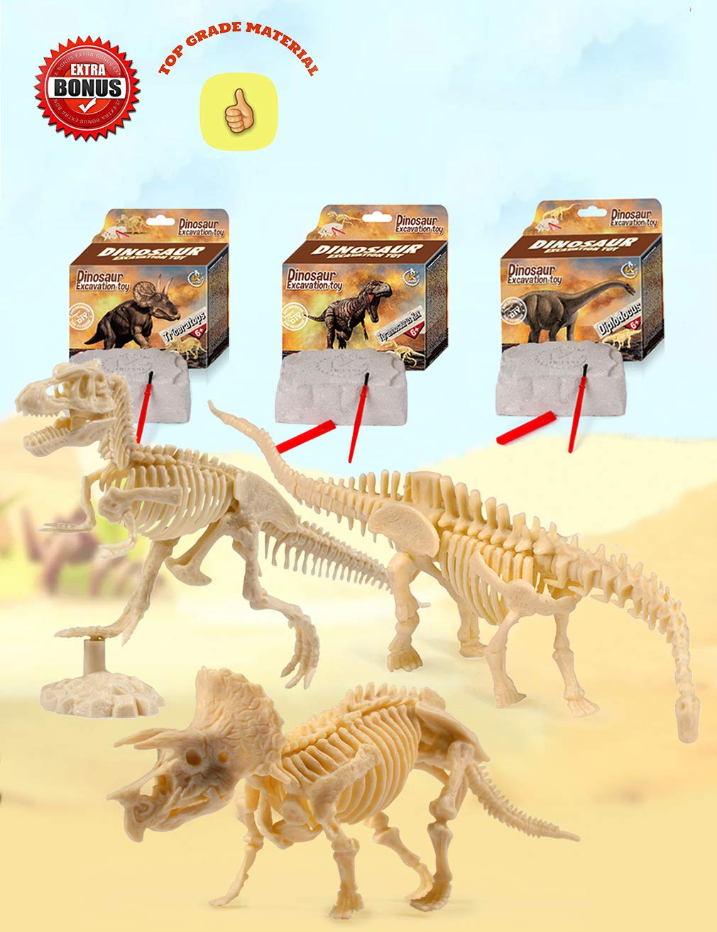 Dinosaur Excavation Kits For Kids,Dino Dig Kits T-Rex,Triceratops and Diplodocus,Dinosaur Fossil Excavation Kits ,Children's Popular Science Education Toys - Dinosaur DIY Toys(Three-piece suit) by AKINGSHOP