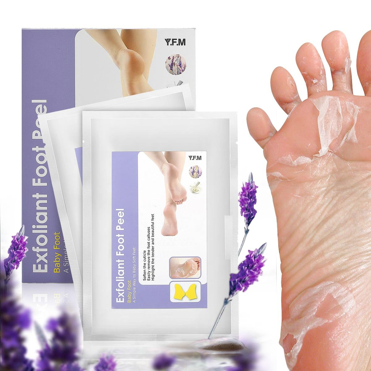 Foot Peel Mask, Y.F.M - 2 Pairs Foot Peeling Mask, Exfoliating Calluses and Dead Skin Remover ,Repair Rough Heels, Get Soft Baby Foot ,Lavender Scented
