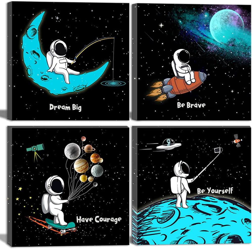 Space Wall Art for Boys Girls Kids Bedroom Living Room Nursery Room Décor Black and White Inspirational Astronaut Canvas Art Funny Cartoon Space Poster Blue Modern Framed Wall Art 4 Piece