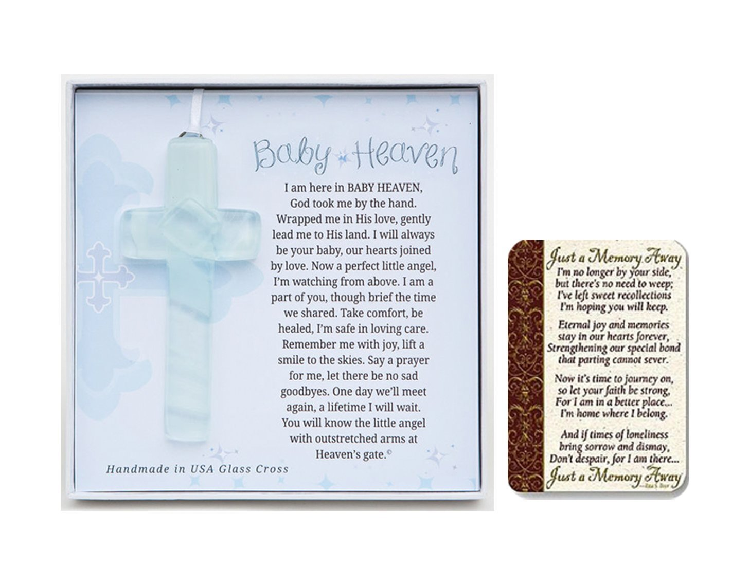 Grandparent Gift Co Baby Heaven Glass Cross, with Just a Memory Away Card | Infant Loss Gift Set Mixed